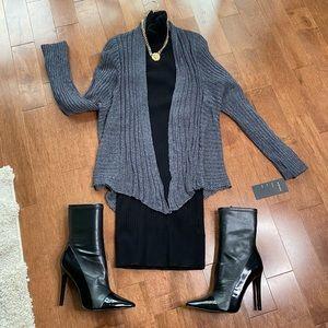 Grey crochet design back open cardigan OS